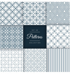collection of abstract line patterns design vector image