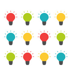 colorful lightbulbs isolated set creative team vector image