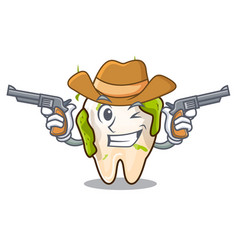 Cowboy character unhealthy decayed teeth before vector