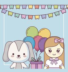 Cute dog with little girl happy birthday card vector