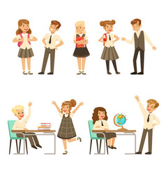 cute pupils in grey school uniform having fun at vector image