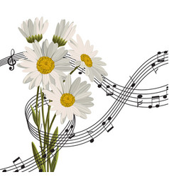 Daisies with music notes vector
