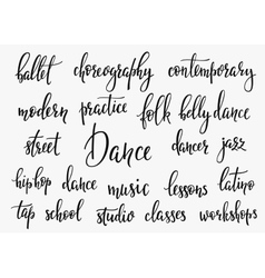 Dance studio lettering set vector image