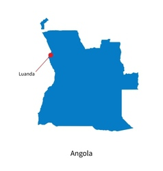 Detailed map of Angola and capital city Luanda vector image