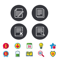 Document icons search delete and edit file vector