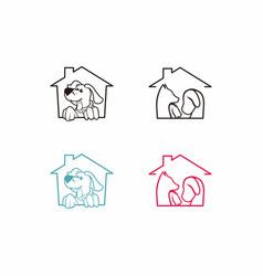 Dog house simple line art logo vector