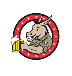 Donkey beer drinker circle retro vector