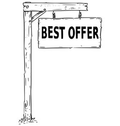 Drawing of hanging wooden sign board with text vector