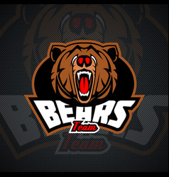 Evil and dangerous bear logo template for sports vector