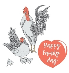 family day of chicken birds vector image