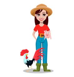 Female farmer cartoon character vector