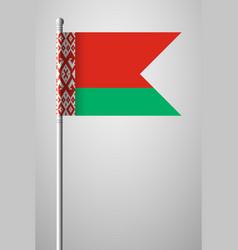 Flag of belarus national flag on flagpole vector