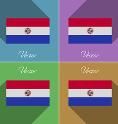 Flags Paraguay Set of colors flat design and long vector image