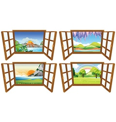 Four nature scenes through the window vector