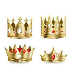 golden crowns 3d realistic royal heraldic vector image