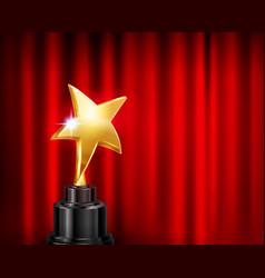 Golden star award composition vector