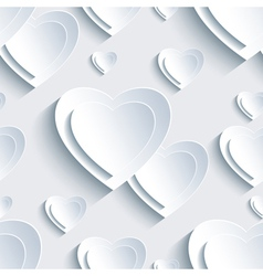 Grey Valentines Day seamless pattern 3d heart vector image