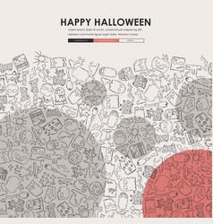 Halloween doodle website template design vector