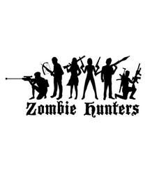 Halloween zombie hunters team vector