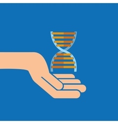 Hands with DNA structure medical icon vector