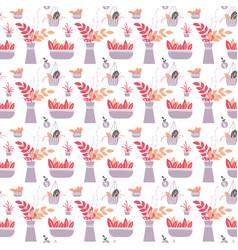 houseplants seamless pattern vector image