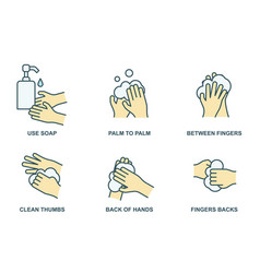 how to wash your hands properly color line icons vector image