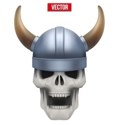 Human skull with viking helmet vector image