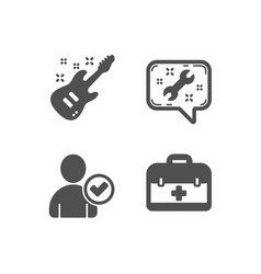 Identity confirmed electric guitar and spanner vector