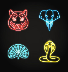 india icons set in glowing neon style vector image