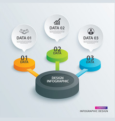 Infographics circle paper with 3 data template vector