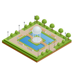 isometric city park with a lake and a gazebo in vector image