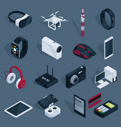 isometric technology devices set vector image