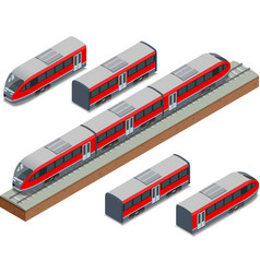 Isometric train tracks and modern high speed train vector