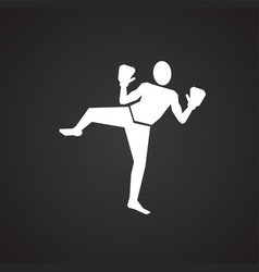 kick boxing on black background vector image