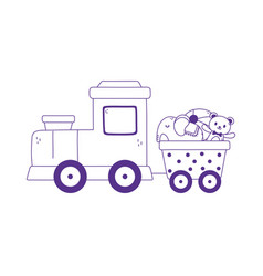 kids toys train wagon bear elephant ball icon vector image