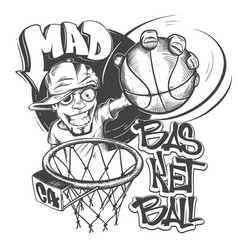mad basketball slam t-shirt print design vector image