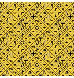 Many yellow road signs seamless pattern vector