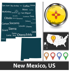 map new mexico us vector image