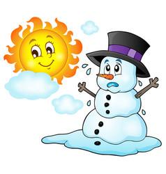Melting snowman theme image 1 vector