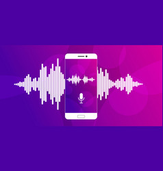 microphone on screen of a smartphone vector image