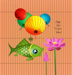 mid autumn lantern festival background with carp vector image