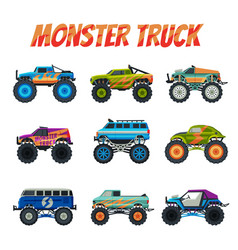 Monster truck vehicles collection colorful cars vector