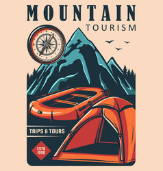 mountain tourism travel camping and hiking vector image