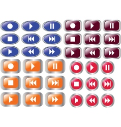 multimedia buttons 4 vector image