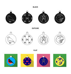new year toys blackflatoutline icons in set vector image