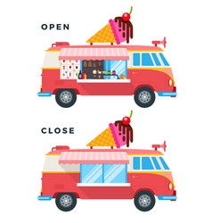 open and closed ice cream vans icon flat isolated vector image