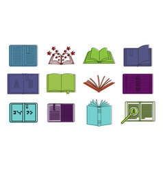 open book icon set color outline style vector image