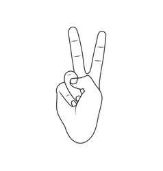 Outline peace hand icon vector
