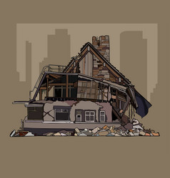 Painted dilapidated two storey cottage in ruins vector