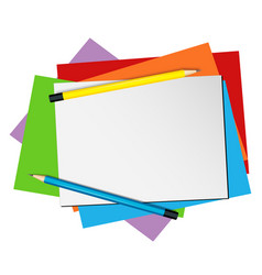 paper template with pencils and color papers vector image